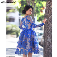 Royal Blue 2018 Elegant Cocktail Dresses A line Long Sleeves Appliques Lace Party Plus Size Homecoming Dresses