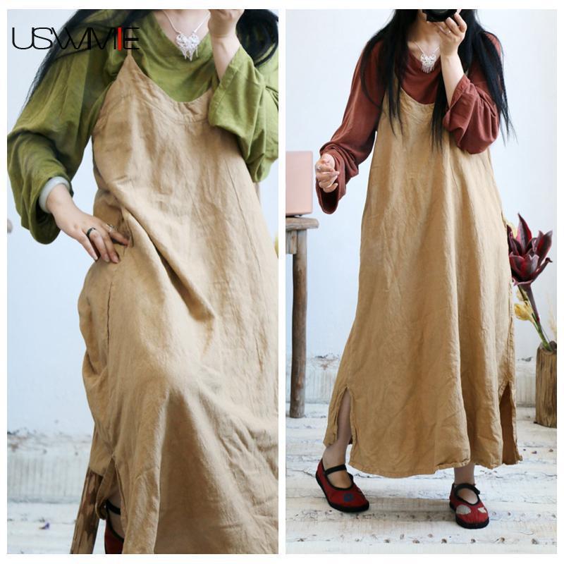 2018 Women Dress Art Pure Color V neck Sleeveless Solid Color Vestidos Plus Size Long Section