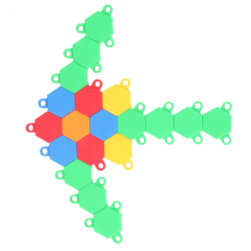 Candice guo JingQi plastic toy baby birthday gift hexagon to triangle shape building model game educational colorful puzzle 1bag