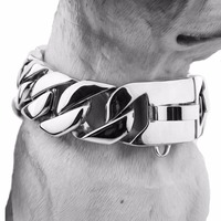 24/30mm Wide Heavy Silver Stainless Steel Casting Cuban Curb Dog Chain Collar Customize Size 18 26 Inches For Strong Dogs Choker