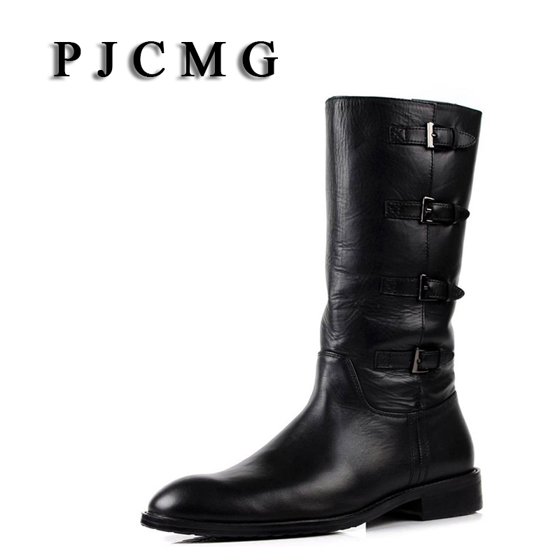 PJCMG New Men s High Boots Genuine Leather High Leg Martin Male Shoes Zipper Design Tactical