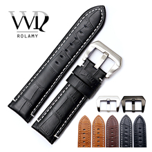 Rolamy 22 24mm Watch Band Strap For Panerai Real Leather Handmade Thick Replacement Wrist Watchband Strap Belt With Screw Buckle цена