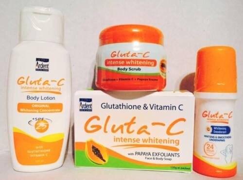 Set 4pcs Gluta C Intense Skin Whitening Lotion Body Scrub Soap Deodorant Roll on Free Shipping цена 2017