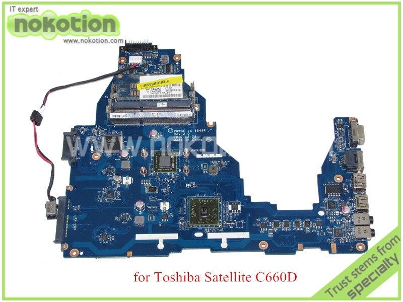 NOKOTION PWWBE LA-6849P REV 2.0 MB K000128540 Pour toshiba satellite C660D mère D'ordinateur Portable CPU À Bord DDR3