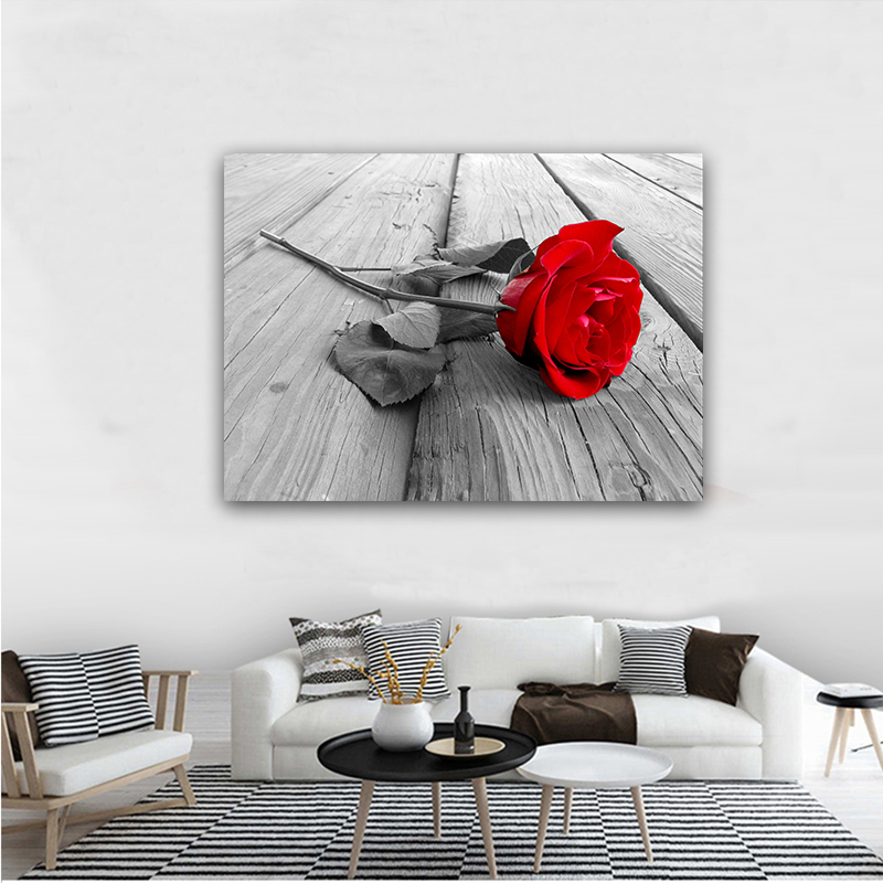 Wall Art Canvas Painting Picture Red Roses Flower Living Room Poster Home Decorative Picture Painting on Canvas Modular Prints in Painting Calligraphy from Home Garden