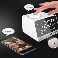 LED Digital Radio Alarm Clock Dual USB Ports Bedside Snooze Clock