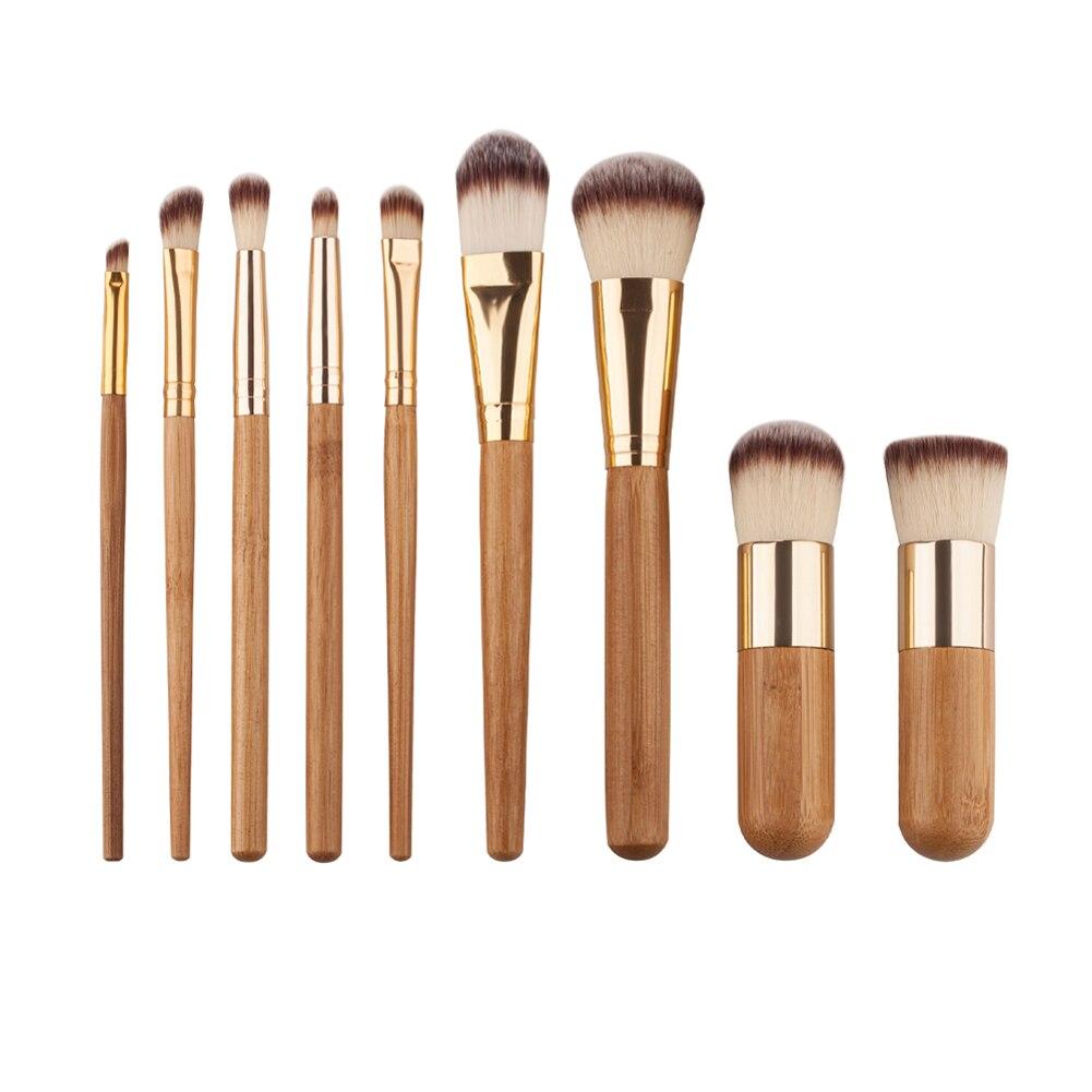 9pcs/Set Makeup Brushes Set Bamboo Handle Make Up Eyeshadow Foundation Cosmetics Makeup Concealer Blush Brush Kit new 6pcs bamboo handle makeup brushes powder concealer foundation brush facial mask brushes beauty face make up cosmetics brushe