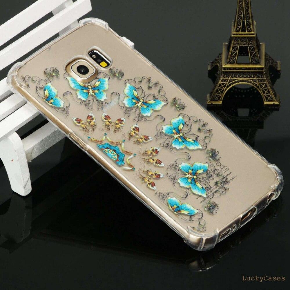 fashion coque Anti fall mobile phone tup back cover for Samsung S6 Edge unicorn owl crocodile Bear butterfly Printing tpu case
