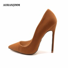Free shipping real pic AORANJIMM hot sale camel suede women lady 120mm 8cm high heel shoes pump size 33, 34, 42,43,44 plus size
