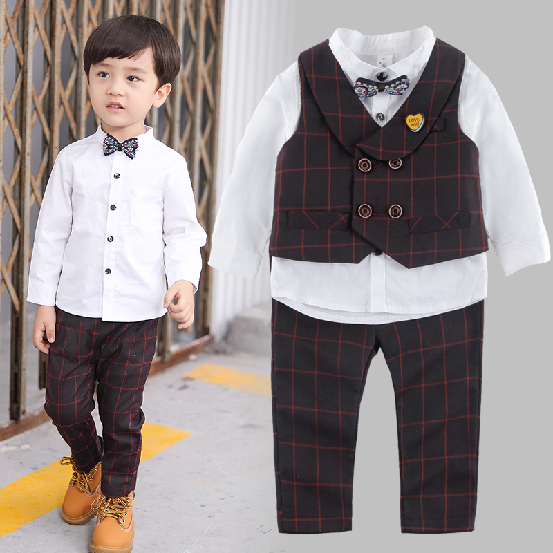 2018 new boy spring and autumn suit long sleeve small suit three-piece white T-shirt + Plaid suit + pants Suitable for 1-7year