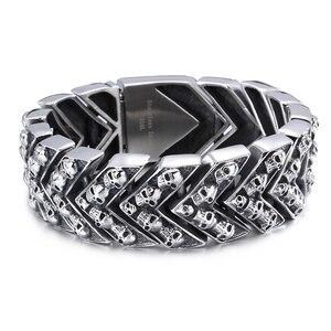 Image 2 - Тяжёлые мужские браслеты шириной 25 мм, 2020, мужской браслет в стиле панк качалка, мужские ювелирные изделия, браслет из нержавеющей стали