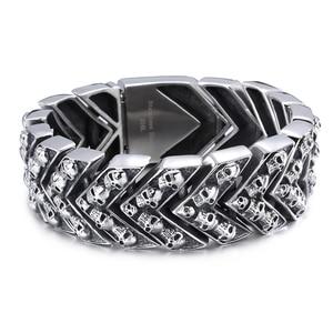 Image 2 - 25MM Wide Heavy Mens Bracelets 2020 Punk Rocker Mens Skul Bracelet For Men Homme Jewelry Stainless Steel Wrap Bracelet Bangles