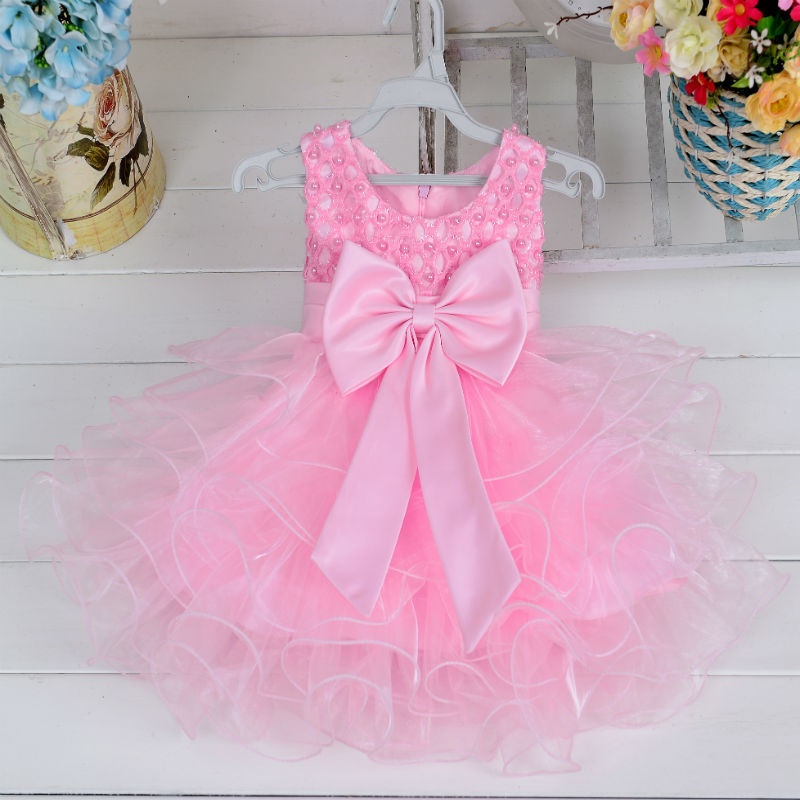 29KEIZ Lace Bowknot Dresses for Girl 1 Year Birthday Party Wedding Princess Dress Baby Girls Christening Cake Dresses Clothes princess girl party dress children wedding birthday tutu dress infant lace corchet christening gown baby girls dresses clothes