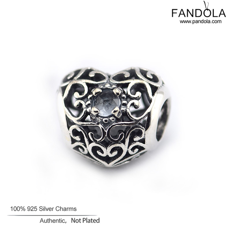 d3e77add7 Fits Pandora Bracelets February Signature Heart Charm Synthetic Amethyst  Beads 925 Sterling Silver ...