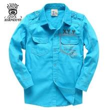 XIAOYOUYU Size 110- 150 Boy Fashion Thin Shirt  Solid Color Fashion Design Children Casual Clothing Best Selling Kids Shirts