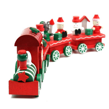 Kid Lovely 4 Piece Little Train Wood Christmas Train Ornament Decoration Decor Gift for Children Birthday Xmas Gift