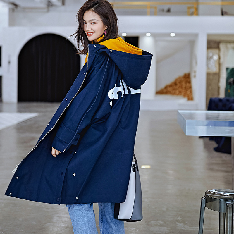 2018 New Women's Clothing Autumn and Winter Solid Color Casual   Trench   Coat Large Size Loose Contour   Trench   Fashion Long Coat