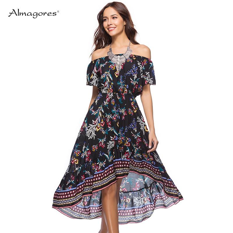 Almagores 2018 Boho Summer Floral Print Sexy Off Shoulder Beach Dress Casual Women Slash Neck Midi Dresses Femme Vestidos Robe