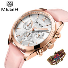 MEGIR Women Watches Fashion Pink Leather Ladies Quartz Watch Women Chronograph Clock Lovers Hour Relogio Feminino With Bracelet(China)