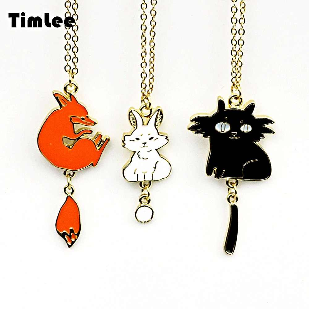 Timlee N054 Free shipping New Lovely  Cat rabbit Fox Pendant Necklaces Wholesale