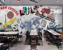 Купить с кэшбэком Beibehang Custom wallpaper street graffiti Paris Tower bar ktv background murals living room bedroom TV background 3d wallpaper