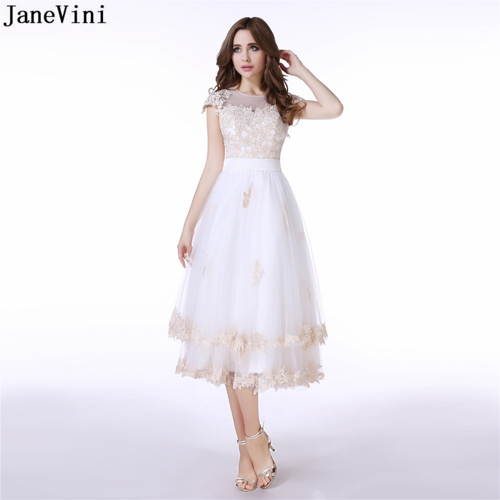 JaneVini 2019 Graceful A Line Long   Bridesmaid     Dresses   O Neck Lace Appliques Sheer Back Tea-Length White Tulle Formal Prom Gowns