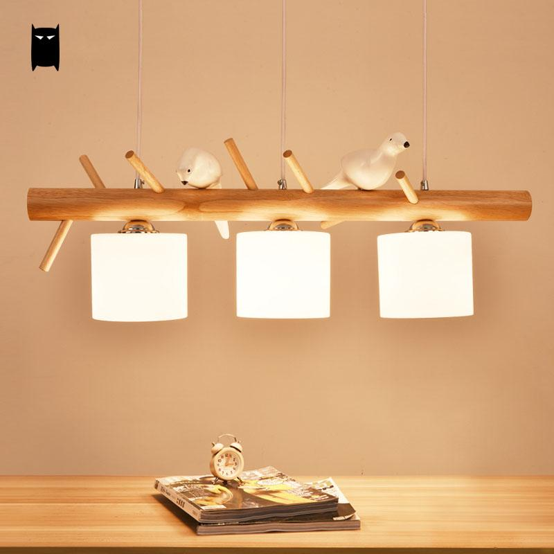 Natural Wood Milky Glass Shade White Bird Triple Pendant Light Fixture Country Nordic Style Suspension Ceiling Lamp Lustre Avize