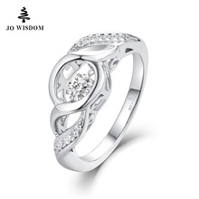 JO WISDOM 2017 New Arrival Rings with Dancing Topaz Gem Stone for Women 925 Sterling Silver Jewelry Wedding Ring Wholesale Price