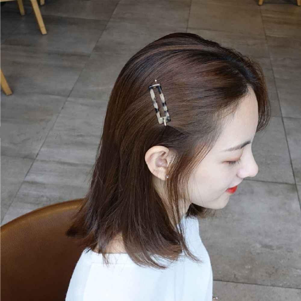 1 Pcs Korea Fashion Vintage Asam Asetat Acrylic Klip Rambut Geometris Marmer Oval Jepit Rambut Rambut Aksesoris untuk Wanita
