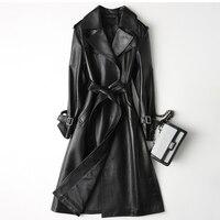 Женская кожаная куртка пальто из натуральной кожи женская с поясом Gu длинная куртка на синтетической зимней дождевик Женская кожа