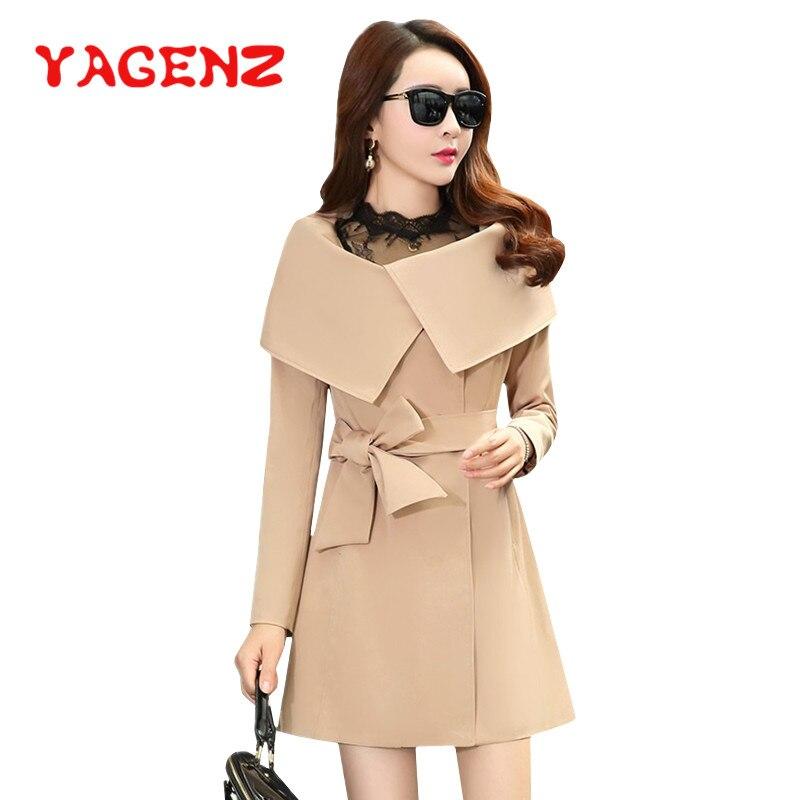 YAGENZ Elegante Frauen Graben Mantel Langarm Frühling Koreanischen Stil Frauen Mode Straße Tragen Lange Graben Windjacke Outwear K156-in Trench aus Damenbekleidung bei  Gruppe 1