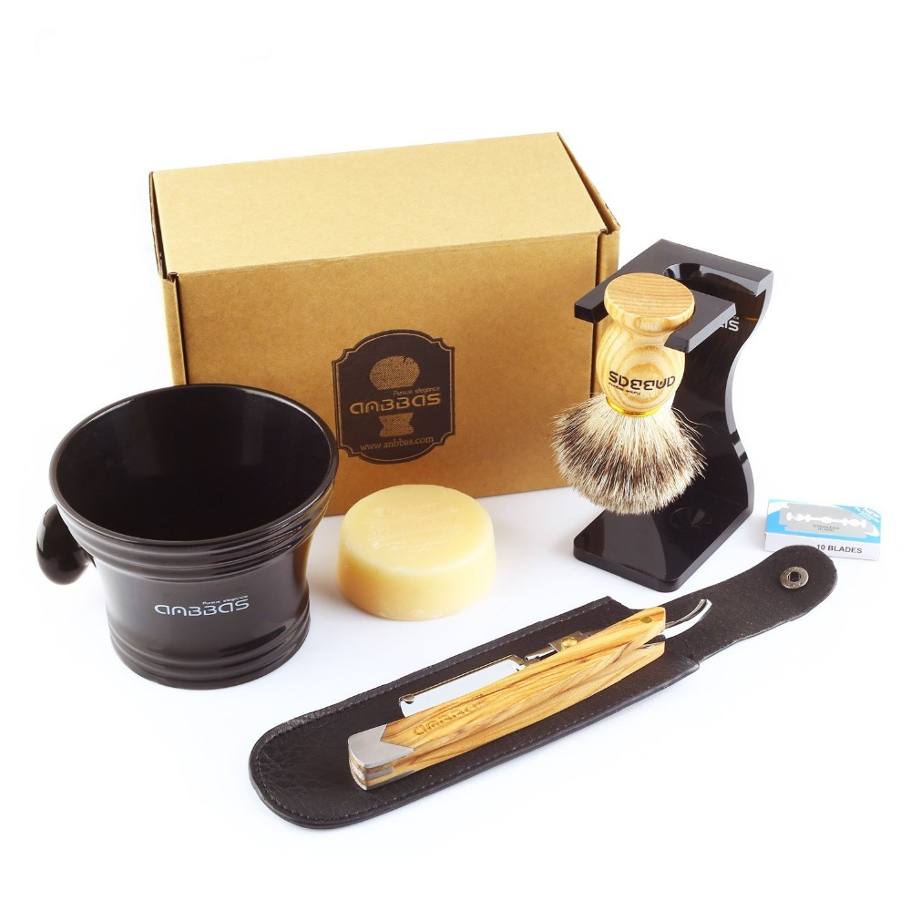 все цены на Anbbas 7Pcs Shaving Set Solid Olive Wood Handle Straight Razor Shaving Knife,Silvertip Badger Brush,Stand,Resin bowl,Soap,Blades