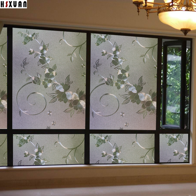 60x100cm 3D tint flower decorative window privacy films frosted self adhesive glass static window stickers Hsxuan brand 600621