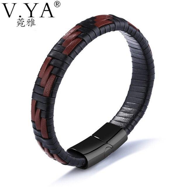 V. YA Mann Armbänder Mode Edelstahl Handgefertigte Seil Leder Design ...
