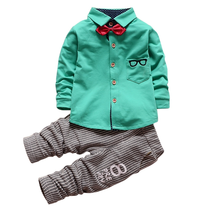 Baby Boys Girls 2 Pieces Clothes Sets Kids Children Glasses Bow Tie T-shirts + Pants Clothing Cotton Suit ad children s mickey thick sets 2 10 age cotton sweater pants boys girls christmas t shirts trousers kids clothing clothes