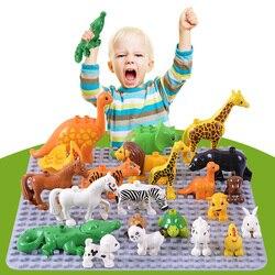 Duplos نماذج للحيوانات أرقام كبيرة بناء كتلة مجموعات الفيل قرد الحصان الاطفال التعليمية لعب للأطفال هدية Brinquedos