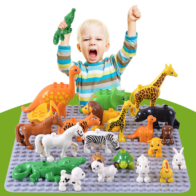 Duplos Animal Model Figures big Building Block Sets Elephant monkey Horse kids educational toys for children Gift Brinquedos 26pcs wooden fun big building block with animal brand top bright high quality for baby kid toy gift boy brinquedo menina tp048