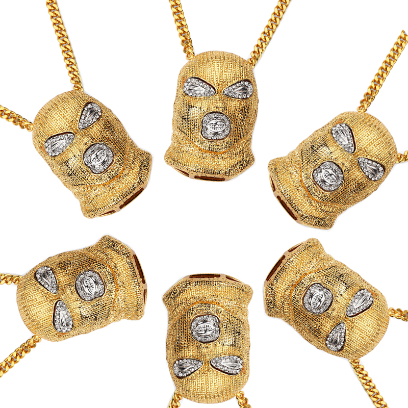 XS917 Mens Hip Hop Iced Out Gold color Goon Ski Mask Pendant W/ 36 Franco Chain Men 's pendants necklaces wholesale jewelry