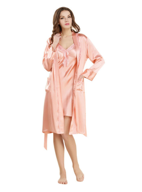 2017 Womens Sleepwear Sets Robe & Gown 2Pcs Ladies 100% Real Silk Nightgown Solid Long Nightdress with Belt and Pocket LX80043