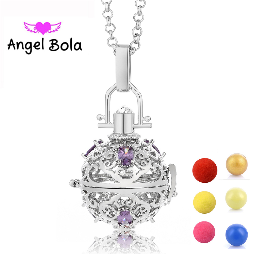 Aromatherapy Pendant Zircon Cage Angel Bola Chain CZ Sound Ball Interchangeable Women Gift Necklace Jewelry(20.5mm) L091