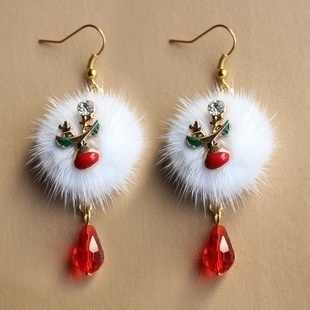 Fashion Santa Elk Cute White Wool Ball Red Crystal Pendant Earrings Female Christmas Gift Jewelry Christmas Fashion Earrings