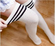 New Fashion 1PC Stocking Women Girls Striped Over Knee Thigh High Stockings Diamond Long