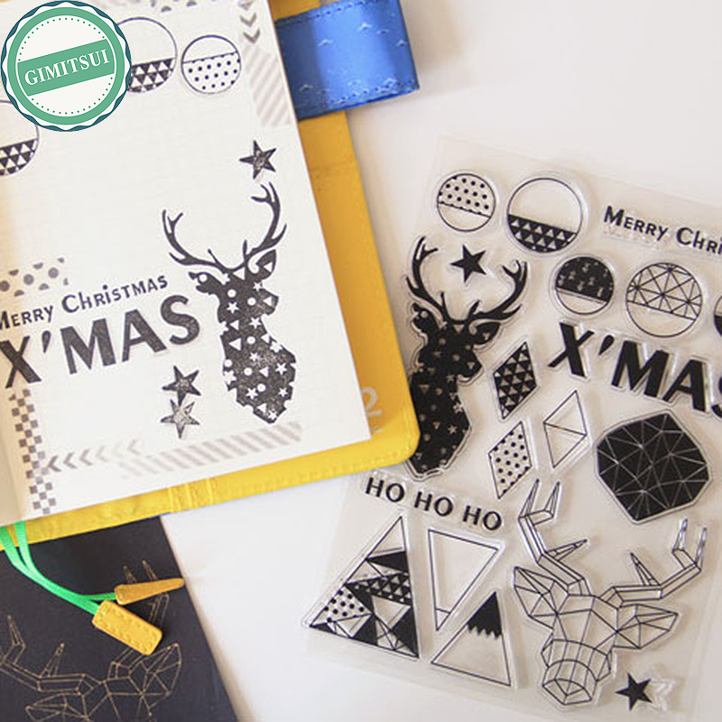 Xmas Silicone Clear Transparent Rubber DIY Scrapbooking Stamps Seal Christmas Photo Album Paper Card Craft Diary Making Decor lovely bear and star design clear transparent stamp rubber stamp for diy scrapbooking paper card photo album decor rm 037
