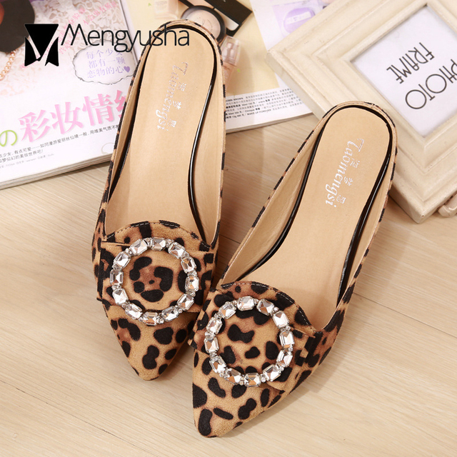 1c902e6ab6f8 Famous designer leopard patterns flat sandals woman summer fashion flock  pointed toe slippers crystal ring mules slides flipflop
