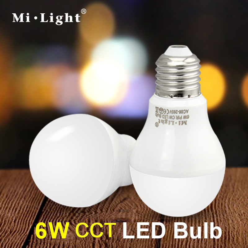 Mi Light 2.4G AC86-260V E27 6W Wifi Dual white WW CW LED Lamp Wireless Brightness adjusting color changing Dimmable LED Bulb new dc5v wifi ibox2 mi light wireless controller compatible with ios andriod system wireless app control for cw ww rgb bulb