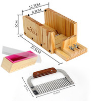 Adjustable Wooden Loaf Soap Cutter Hardwood Handle Stainless Crinkle Cutter D0019 Rectangle Loaf Soap Silicone Mold
