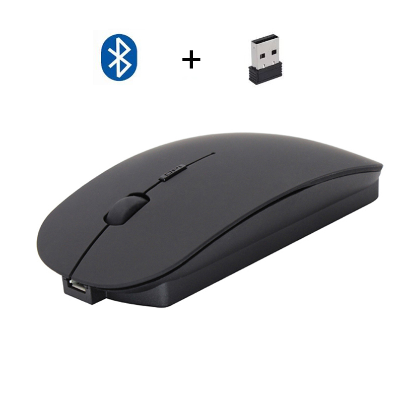 Cliry New Wireless 2.4Ghz + Bluetooth 4.0 Dual Mode 2 In 1 Charging Mouse 1600 DPI Ultra-thin Ergonomic Portable Optical Mice