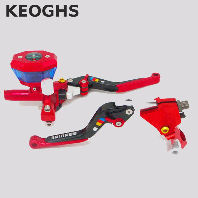 Keoghs Motorbike Brake Master Cylinder And Clutch Lever 22mm Universal 12.7mm Piston For Honda Yamaha Kawasaki Suzuki Scooter