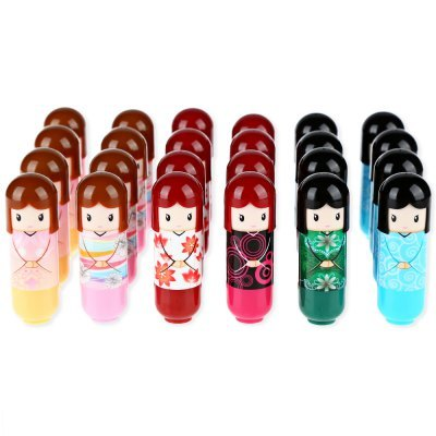 6Pcs/Lot Newest Lip Balm Lovely Kimono Doll Pattern Lip Smacker Colorful Girl Makeup Lip Balm Present for Friend