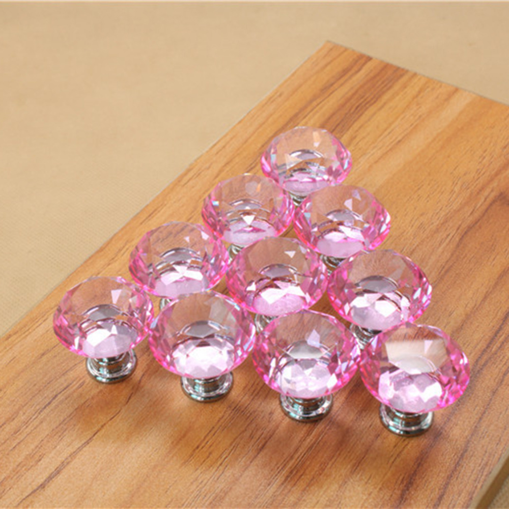 25mm Diamond Crystal Cupboard Cabinet Dresser Drawer Wardrobe Door Knob Pull Handle Furniture Accessories 10pcs set drawer furniture knob pull handle use for knob cupboard cabinet drawer fittings gold diamond crystal shape acrylic